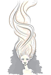 Style hair beauty sketch