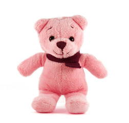TEDDY BEAR red color with scarf on white background