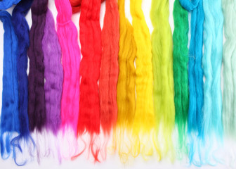 Wool strands colourful background