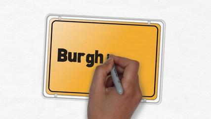 Burghausen, Ortseingangsschild Ortseingang Stadt