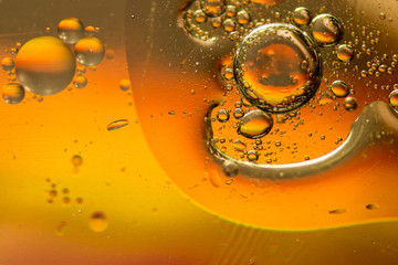 Oil and water bubbles