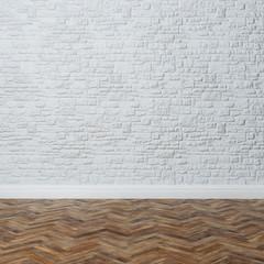 Empty Interior - Brick Wall With Decorative Stone And Hardwoodr