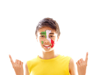 boy with italian flag & map painted on his face