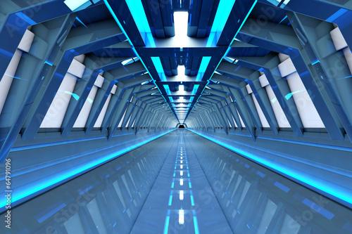 Leinwanddruck Bild Raumschiff Korridor