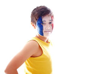 french flag painted on boy's face