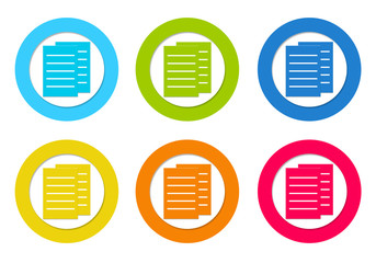 Colorful rounded icons with documents or news symbol