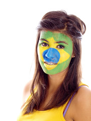brazilian flag painted on girl's face