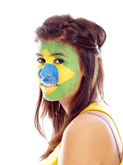 brazilian flag painted on girl's face