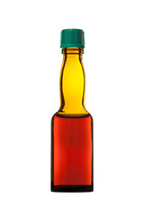 small bottle of balsam  on a white background