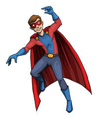 Male super hero character in flight