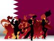 Qatar Sport Fan Crowd with Flag