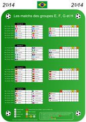 Foot 2014 - Tableau des matchs des groupes EFGH