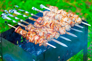 appetizing grilled skewers on the grill