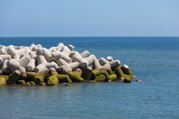 Breakwater of tetrapods at Madeira, Portugal