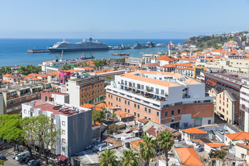 Aerial view of Funchal with cruise ship in the harbor