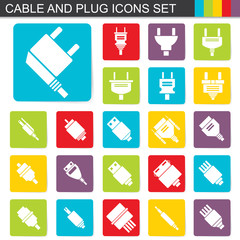 falt design cable and plug icons set