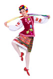 Fototapety beautiful dancing girl in ukrainian polish national traditional