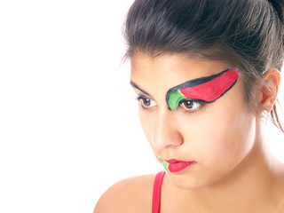 portuguese flag painted on girl's face