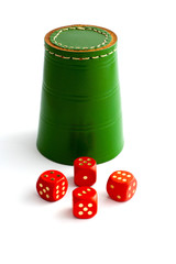 Dice Shaker and Dice on Isolated White Background