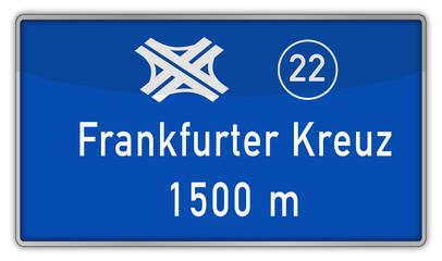 Hinweisschild auf A5, Frankfurter Kreuz
