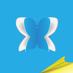 Blue paper background with butterfly