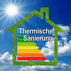 Haus mit Wiese und Thermische Sanierung