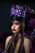 Fantasy. Fanciful Woman in Unusual Art Stylized Crown