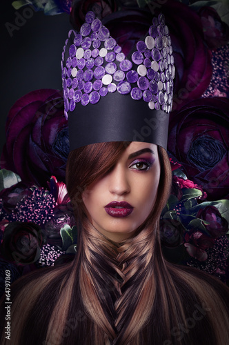 Imagination. Extravagance. Styled Woman in Fantastic Headwear