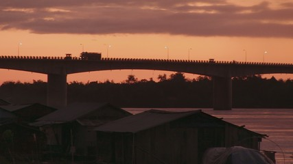 Kizuna bridge at Sunrise , Cambodia