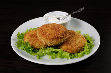 Chicken cutlets in breadcrumbs