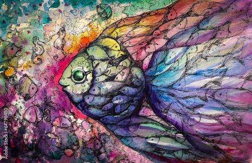 Fishes .Watercolors плакат