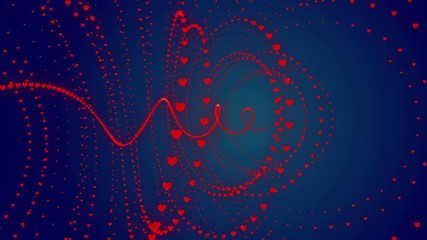 wedding loop background,  turbulence red hearts