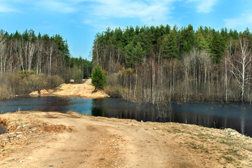 landscape of the overflow river and the road