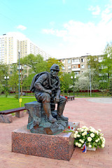Monument resting rescuer in Moscow