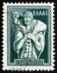 Postage stamp Greece 1954 Shepherd Carrying Calf