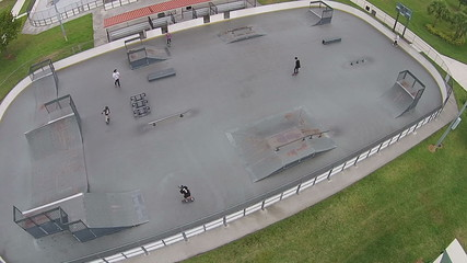 Aerial view of skatepark