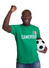Cheering Soccer fan from Cameroon with ball