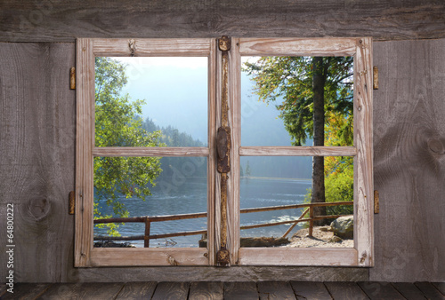 Herbstliche Landschaft - Bäume am See - Holz Fenster - 64800222