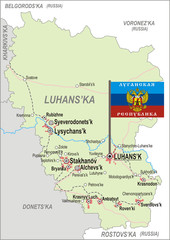 Map of Luhansk Oblast with flag