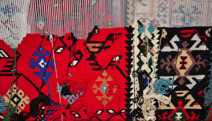 Segment of hand-woven carpets and rugs, Bulgarian  patterns