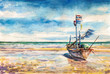 Fishing boat -watercolors