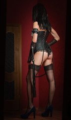Mistress in Corset with Lash