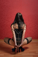 Slave Girl with Chained Hands Behind Back