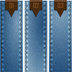 Three banners of denim texture. Vector eps10