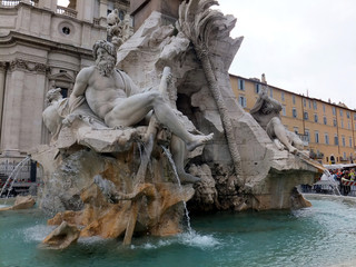 Detail of the Fountain of the Four Rivers in Piazza Navona, Rome