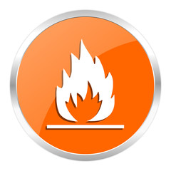 flame orange glossy icon