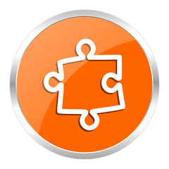 puzzle orange glossy icon