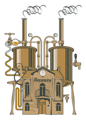vector drawing of the brewery