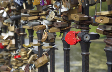 Locks on bridge of lovers