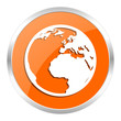 earth orange glossy icon